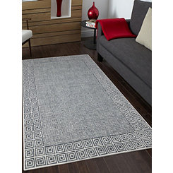Gray Clyde Geometric Border Area Rug, 8x11