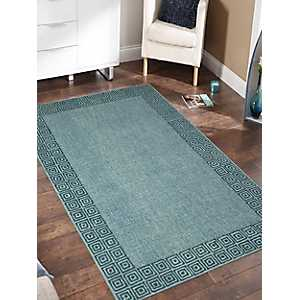 Turquoise Clyde Geometric Border Area Rug, 5x8