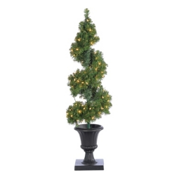 Pre-Lit Potted Spiral Tree
