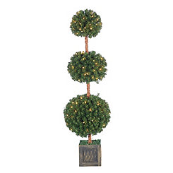Pre-Lit Potted Triple Ball Topiary