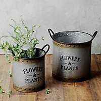 Galvanized Metal Garden Bucket Planters, Set of 2