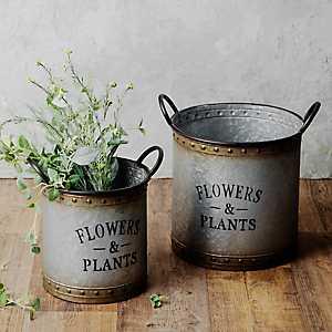 Galvanized Metal Garden Bucket Planters, Set of 2
