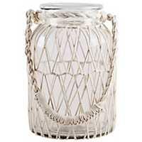 White Macrame Glass Lantern, 13 in.