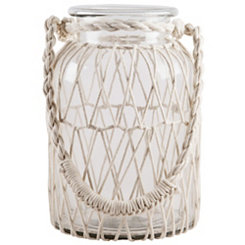 White Macrame Glass Lantern, 13 in.