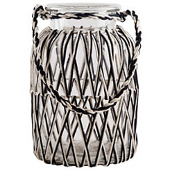 Black and White Macrame Glass Lantern, 13 in.