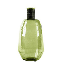 Green Hexagon Glass Vase, 12.5 in.