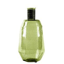 Green Hexagon Glass Vase, 12.5 in.
