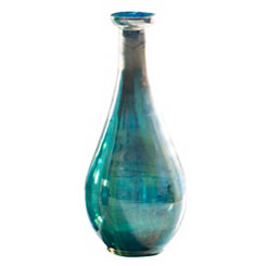 Teal Ombre Bottle Vase, 12.5 in.