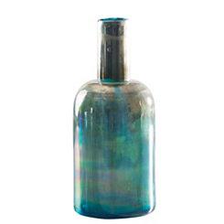 Teal Ombre Bottle Vase, 12 in.
