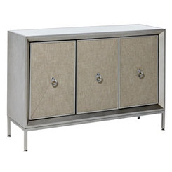 Gray Fabric and Wood Mirrored 3-Door Cabinet
