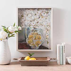Lemon Vase with White Flowers Framed Art Print