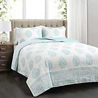 Teardrop Leaf 3-pc. Full/Queen Quilt Set