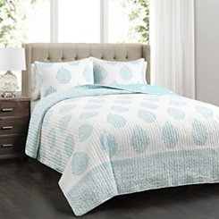 Teardrop Leaf 3-pc. King Quilt Set