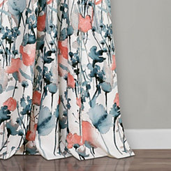 Zoe Floral Blue Coral Curtain Panel Set, 84 in.