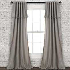 Gray Ivy Tassel Curtain Panel Set, 84 in.