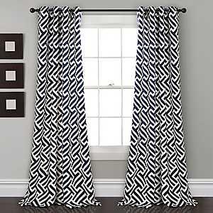Gwyneth Navy Curtain Panel Set, 84 in.