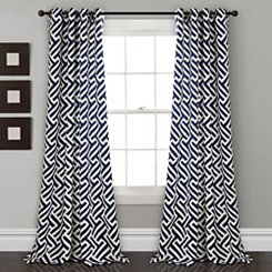 Gwyneth Navy Curtain Panel Set, 84 in.
