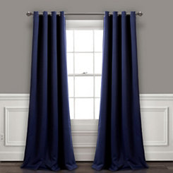 Blackout Navy Curtain Panel Set, 95 in.