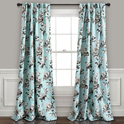 Tara Blue Gray Floral Curtain Panel Set, 84 in.