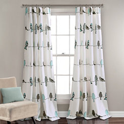 Blue Rowley Birds Curtain Panel Set, 84 in.