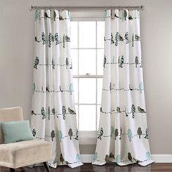 Blue Rowley Birds Curtain Panel Set, 84 in.