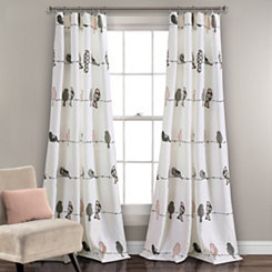 Pink Rowley Bird Curtain Panel Set, 84 in.