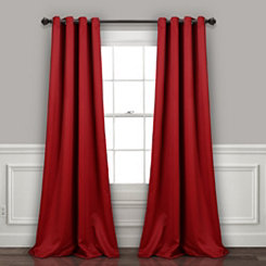 Red Insulated Blackout Curtain Panel Set, 95 in.