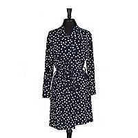 Navy Dot Pocket Robe, S/M