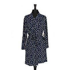 Navy Dot Pocket Robe, S/M