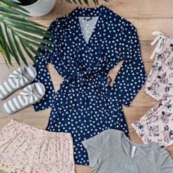 Navy Dot Pocket Robe, L/XL