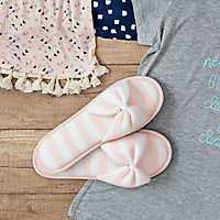 Pink Stripe Jersey Bow Slippers, M
