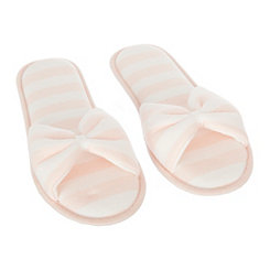 Pink Stripe Jersey Bow Slippers, XL