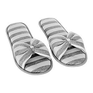 Gray Stripe Jersey Bow Slippers, L
