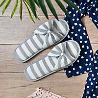 Gray Stripe Jersey Bow Slippers, XL