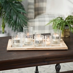 Rae Dunn Seeded Glass Votive Runner Set
