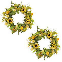 Sunflower Twig Wreaths, Set of 2