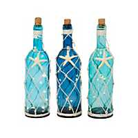 Nautical Colored Pre-Lit Wine Bottles, Set of 3