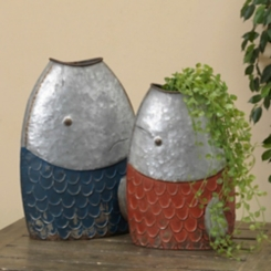 Galvanized Metal Fish Containers, Set of 2