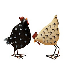 Metal Chicken Figurines, Set of 2