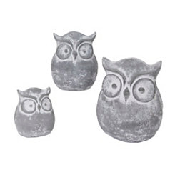Cement Owl Figurines, Set of 3