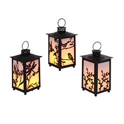 Black Floral LED Lanterns, Set of 3