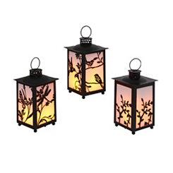 Black Floral LED Lanterns, Set of 3