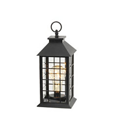 Black Grid LED Lantern, 11 in.