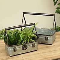 Antique Latched Metal Bucket Planters, Set of 2