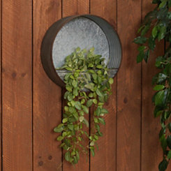 Round Galvanized Metal Hanging Planter