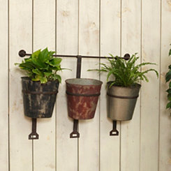 Hanging Metal Bucket Planters, Set of 3