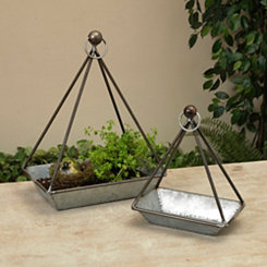 Geometric Antique Metal Hanging Planters, Set of 2