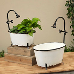 Antique Metal Bathtub Planters