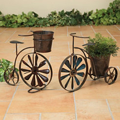 Antique Tricycle Wind Spinner Planters, Set of 2