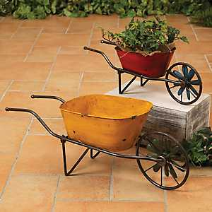 Antique Metal Wheelbarrow Planters, Set of 2